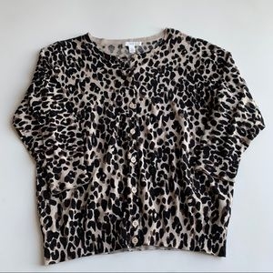1901 Leopard Print Cardigan Pima Cotton Blend Sz L